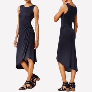 Bar III Deep Black Twist Front Dress Modal Size S